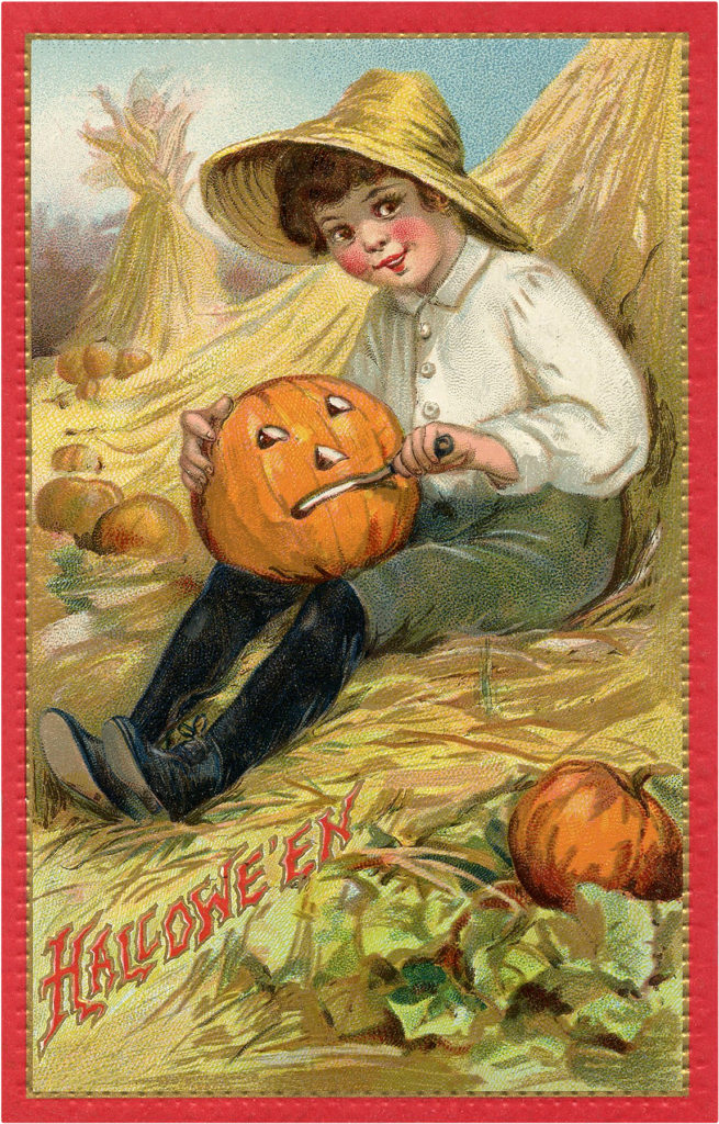 Boy Carving Pumpkin Picture