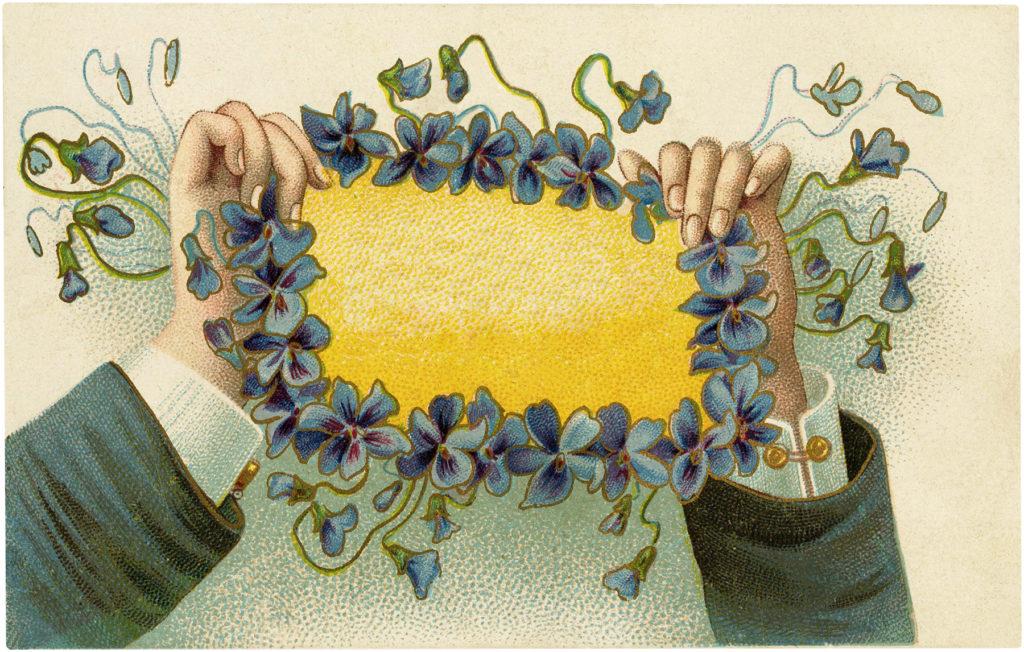 Violets Frame Hands Holding Sign Image