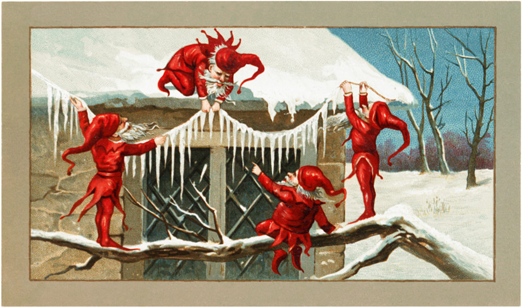 Red Elves Icicles Decorating Illustration