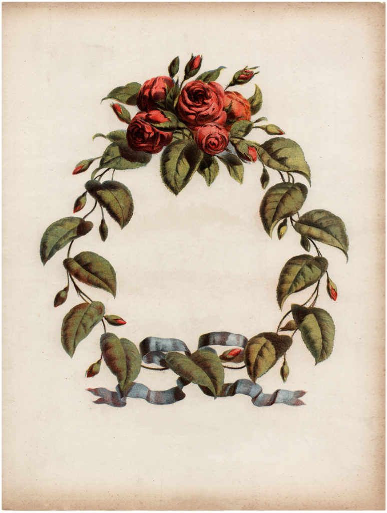 Vintage Red Rose Wreath Ephemera Illustration