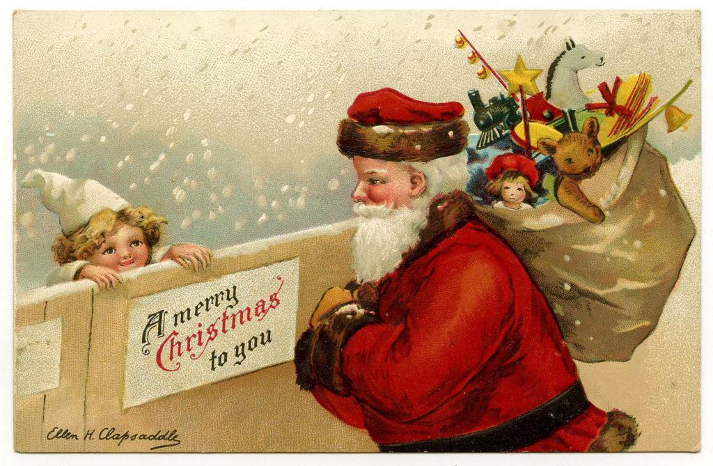 vintage Santa child image