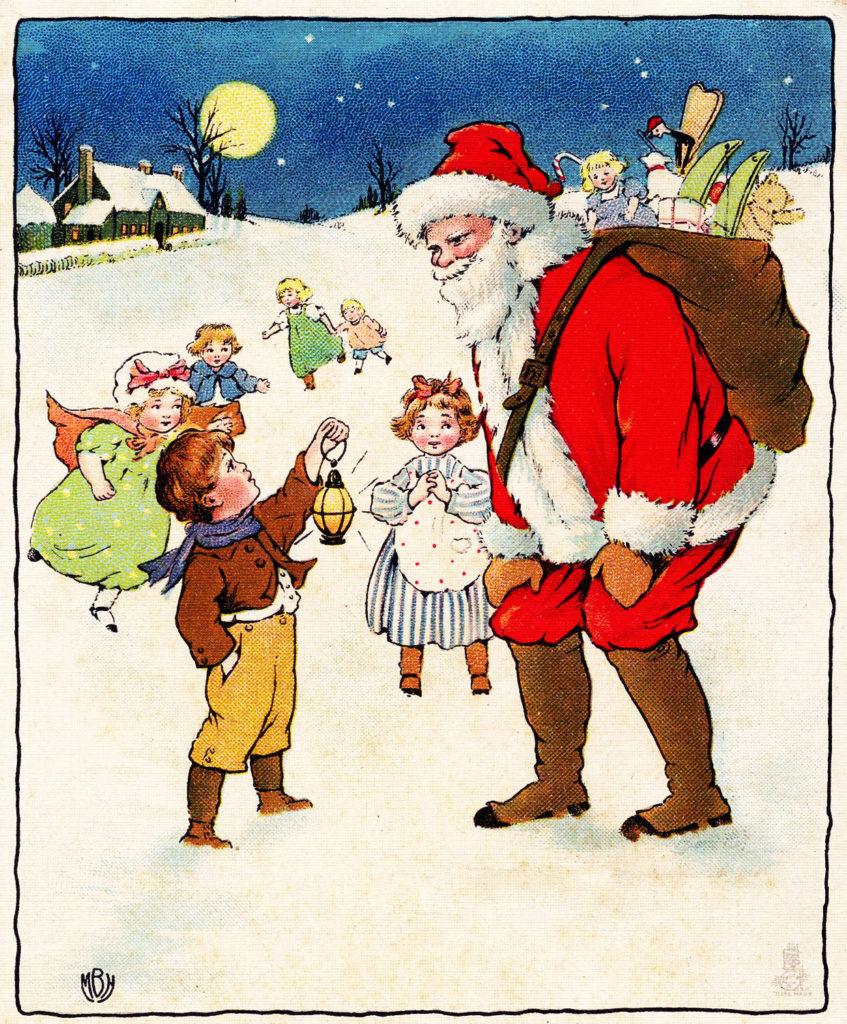 Santa Children vintage Image