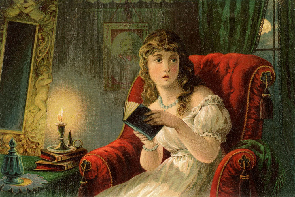 scared lady reading book moon candle image