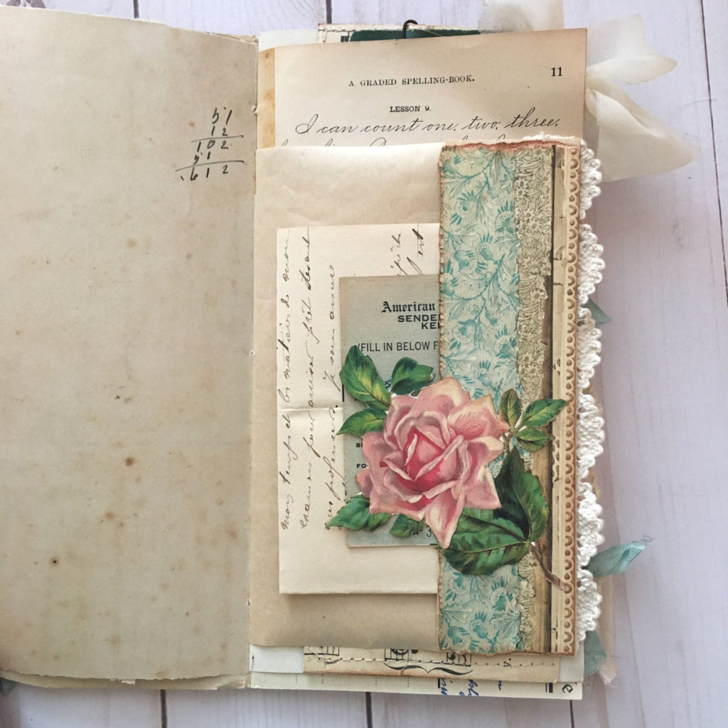 Rose Pocket Art Journal page