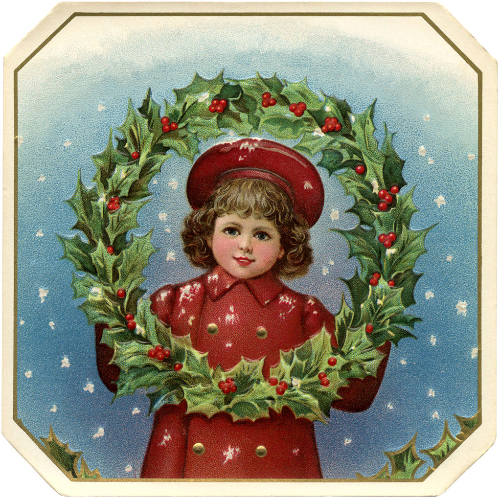 Victorian Christmas Girl Wreath Red Coat Image