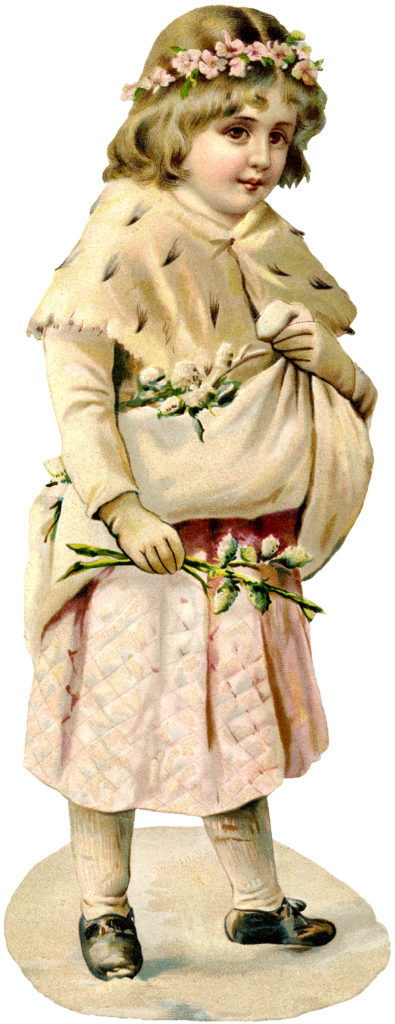 Vintage Girl Flowers Christmas Image