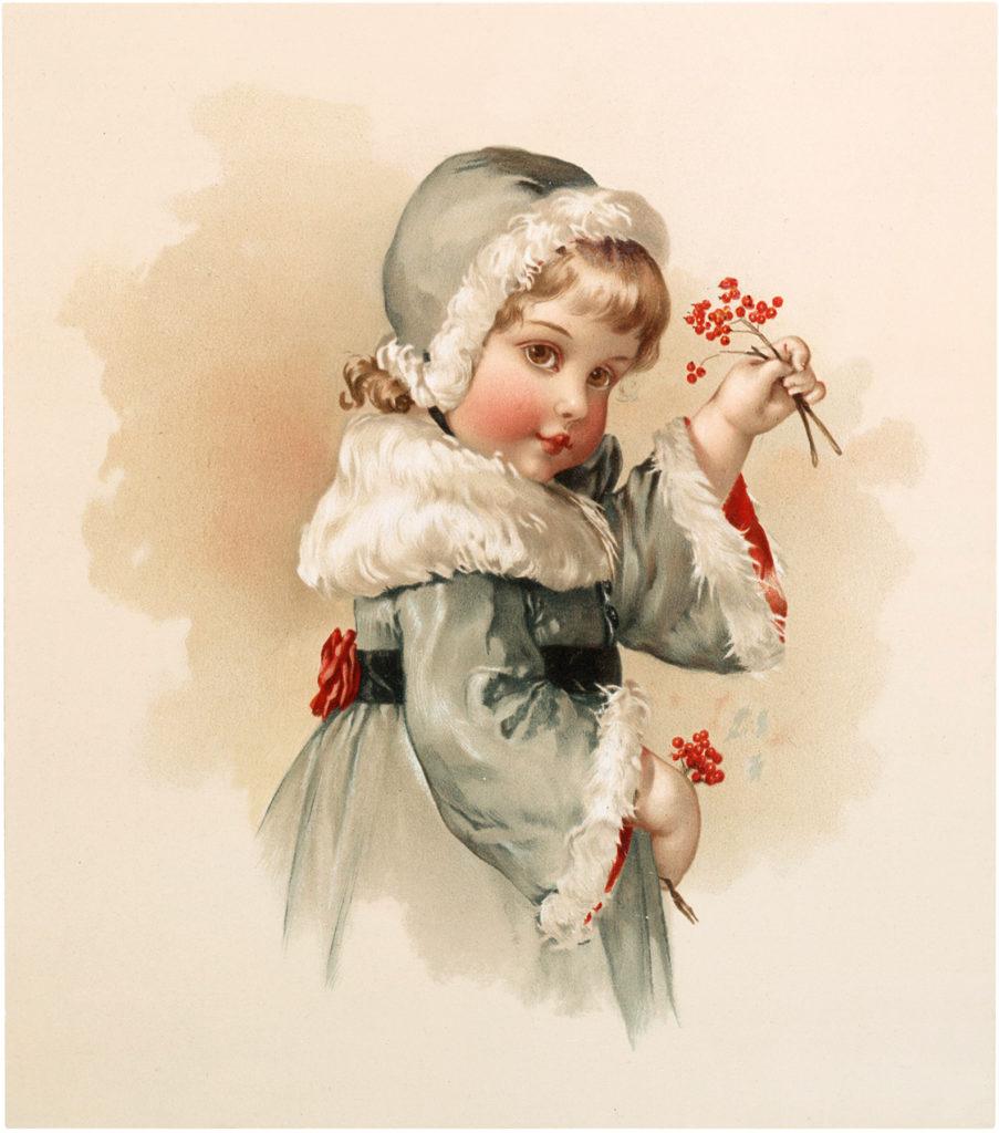 Vintage Girl Berries Illustration