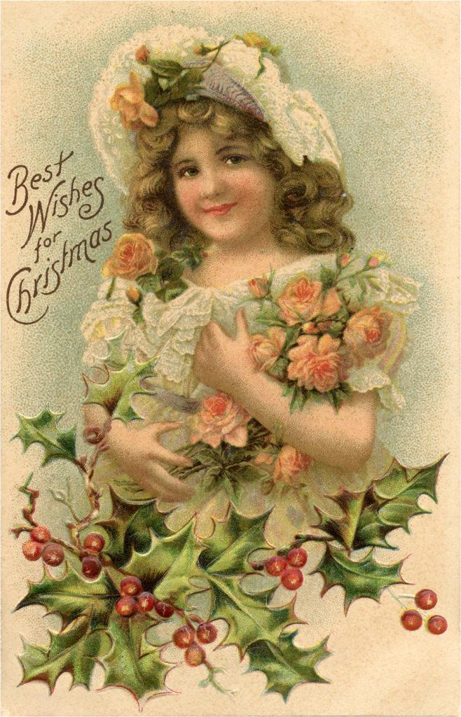 Vintage Girl Christmas Flowers Illustration
