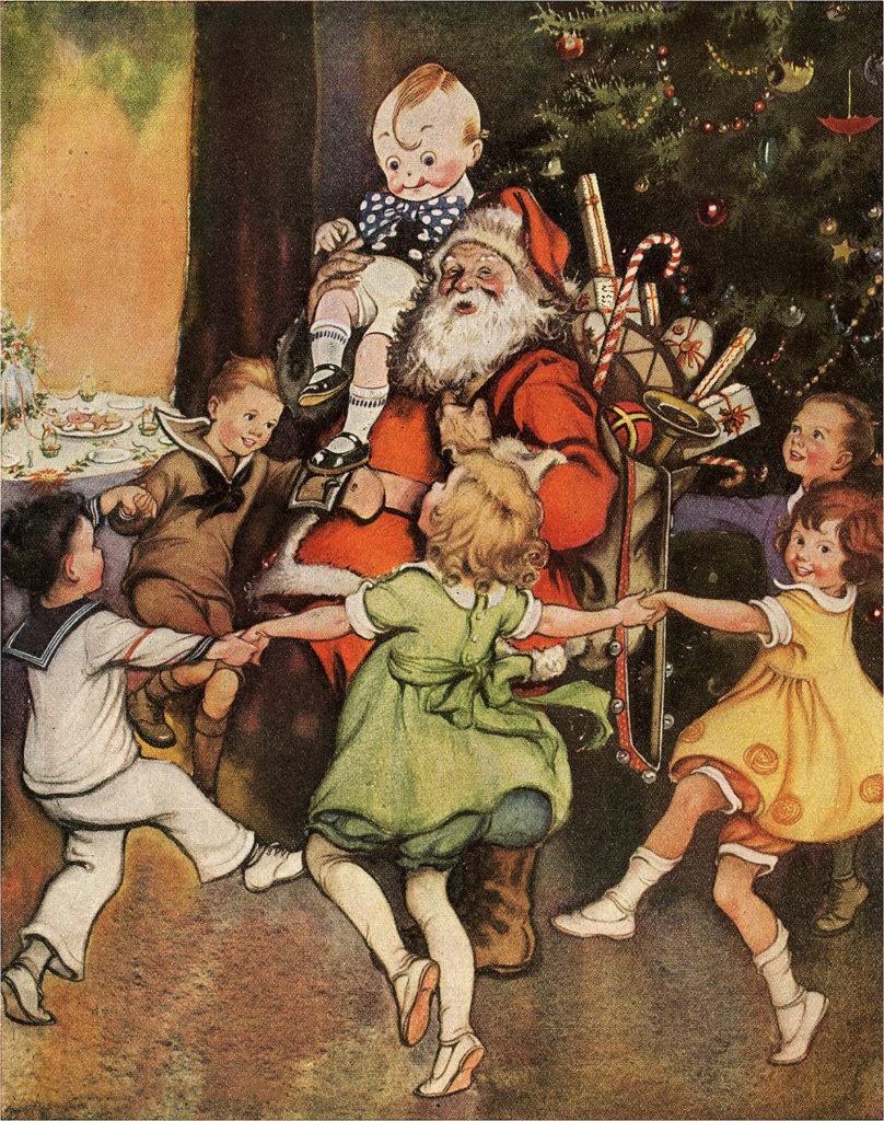 Vintage Christmas Santa Kids Image