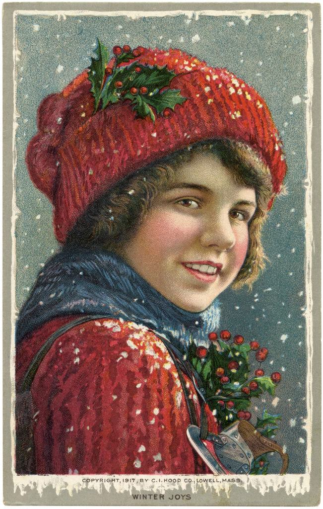 Vintage Christmas Kid Snow Hat Illustration