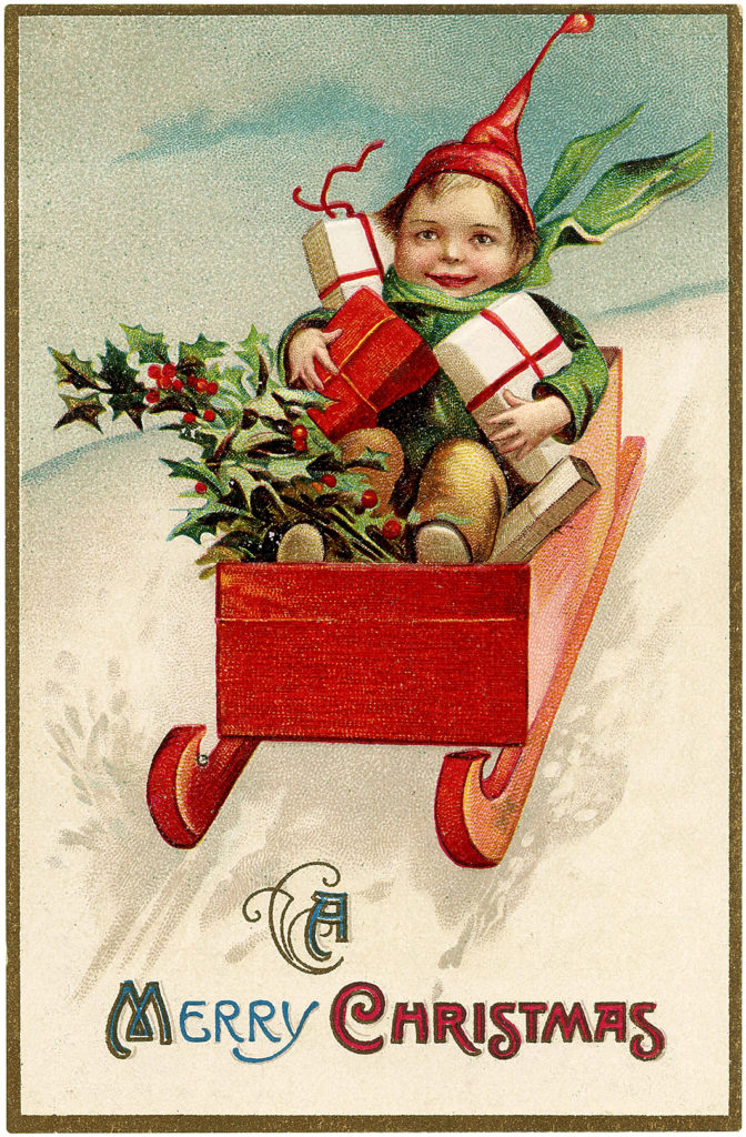vintage child red sled presents gifts packages image