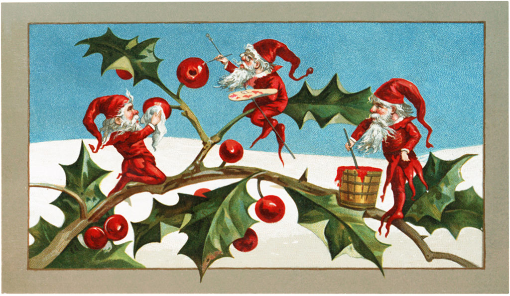 Vintage Elves Holly Illustration