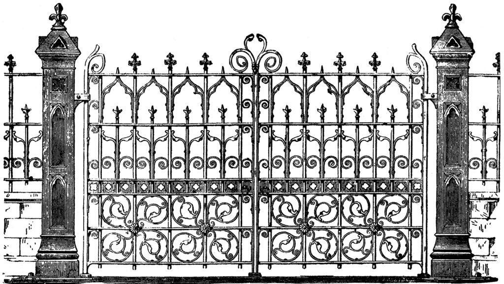 Vintage Halloween Spooky Gate Clipart