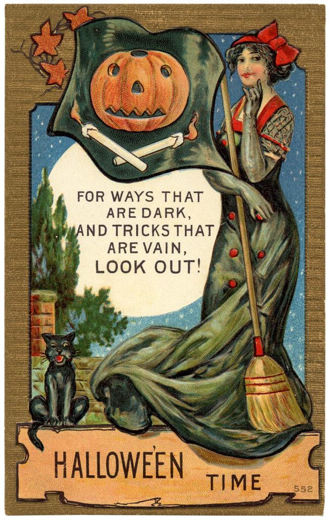 lady halloween moon jackolantern image