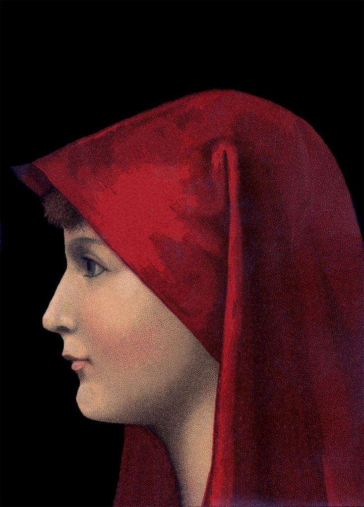 vintage mysterious lady red veil clipart