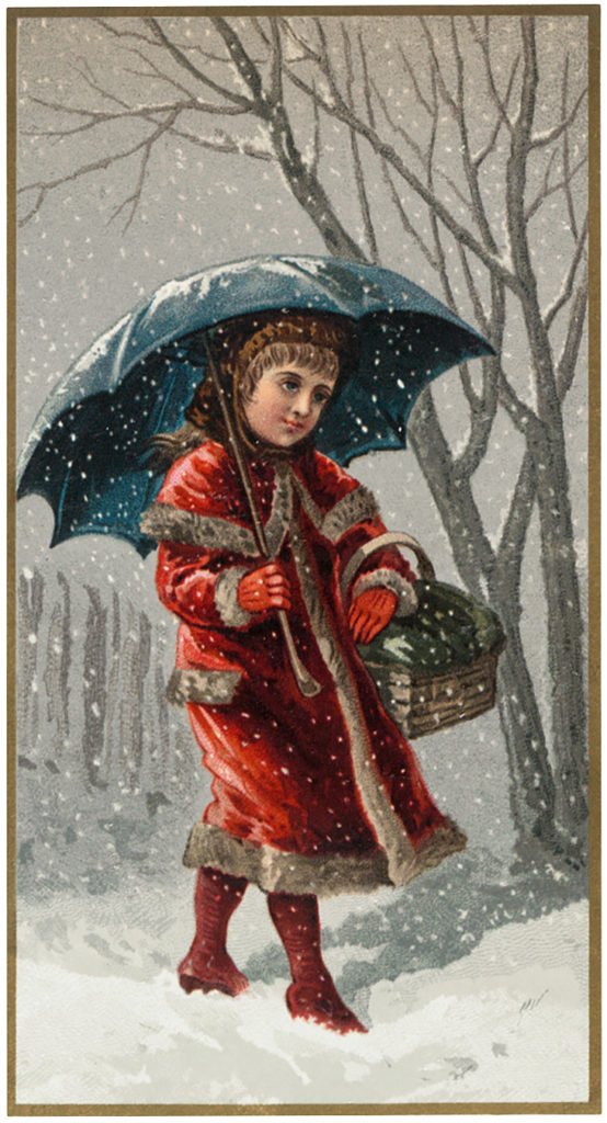 Vintage Snowy Day Girl Umbrella Image