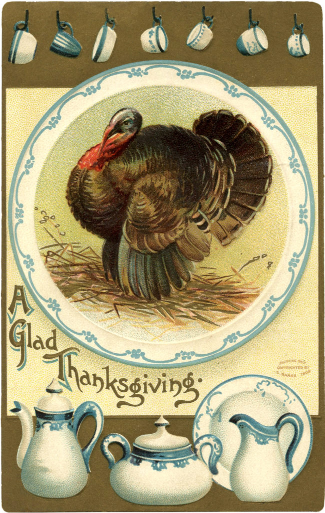 Vintage Thanksgiving turkey Dishes Illustration
