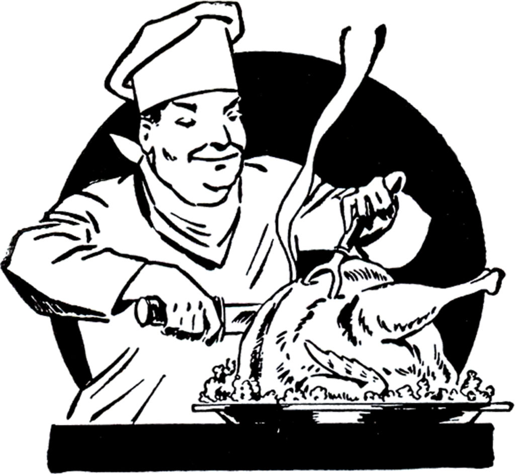 Vinage Chef Carving Turkey Illustration