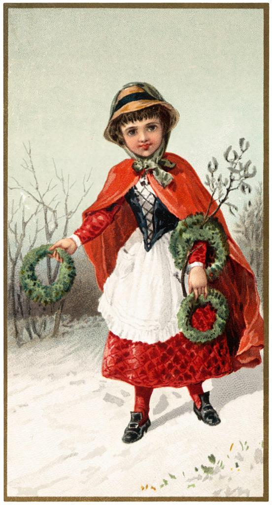Christmas Girl wreaths Image
