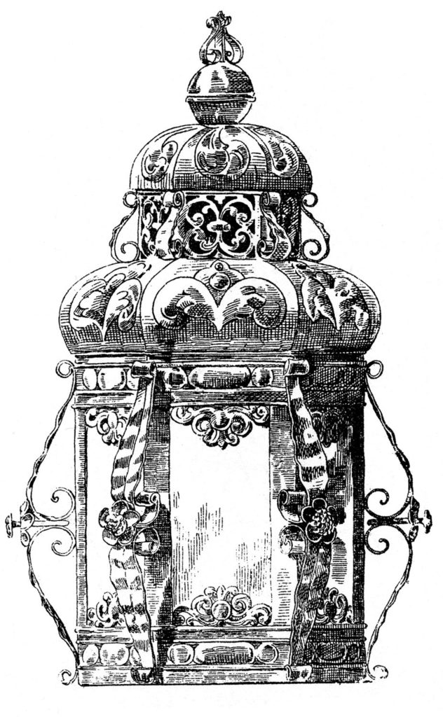 Vintage Candle Lantern Illustration