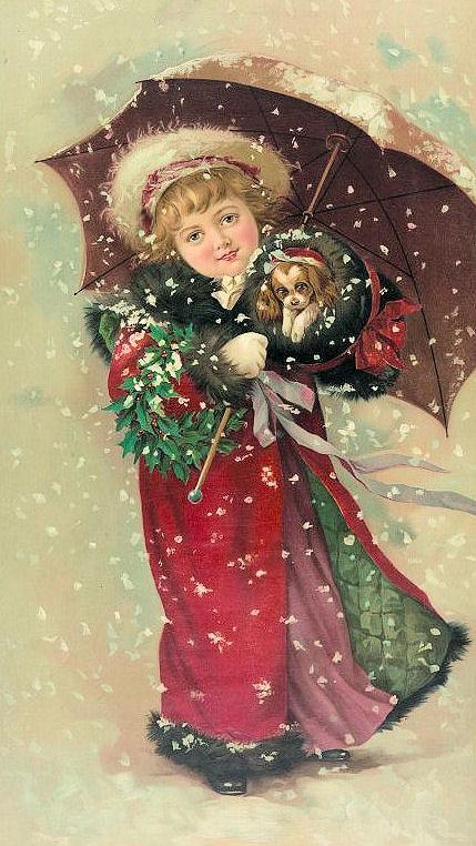 Girl Christmas Puppy Wreath Umbrella Snow Clip art