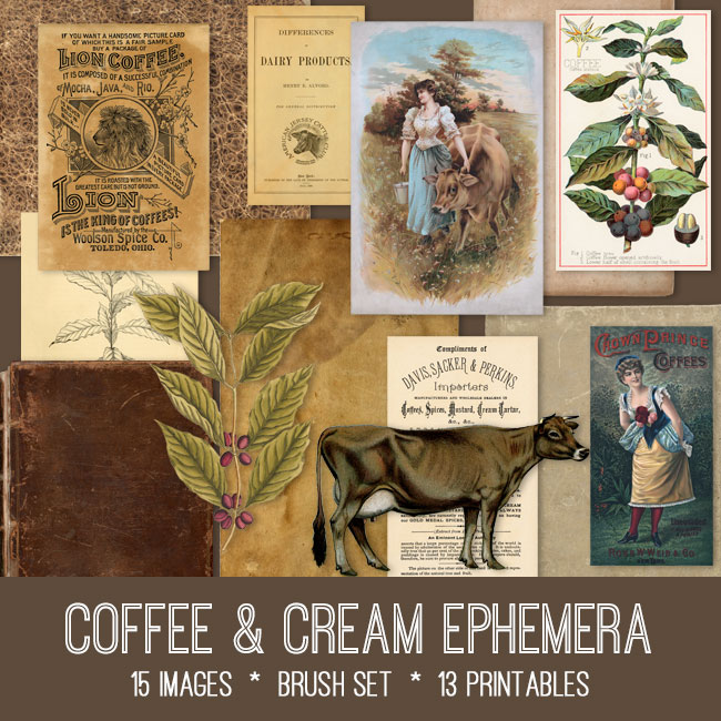 Vintage coffee & cream ephemera digital image bundle