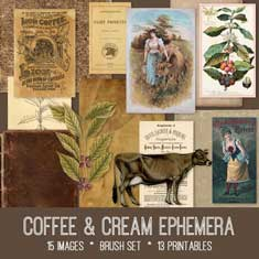 Vintage Coffee & Cream Ephemera Bundle