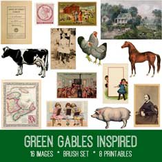 Vintage Green Gables Inspired Ephemera Bundle