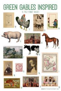 Vintage Green Gables Inspired Digital Image Bundle