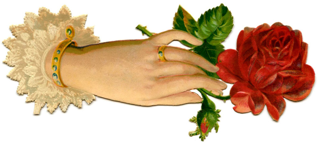 Victorian hand with rose vintage image