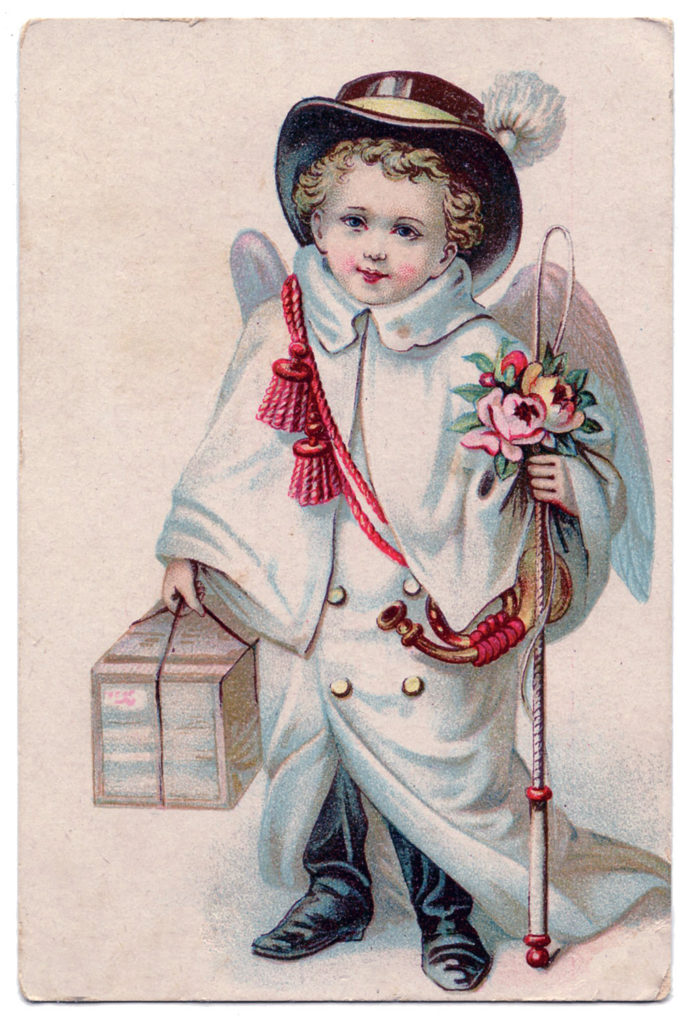 snow angel boy vintage image