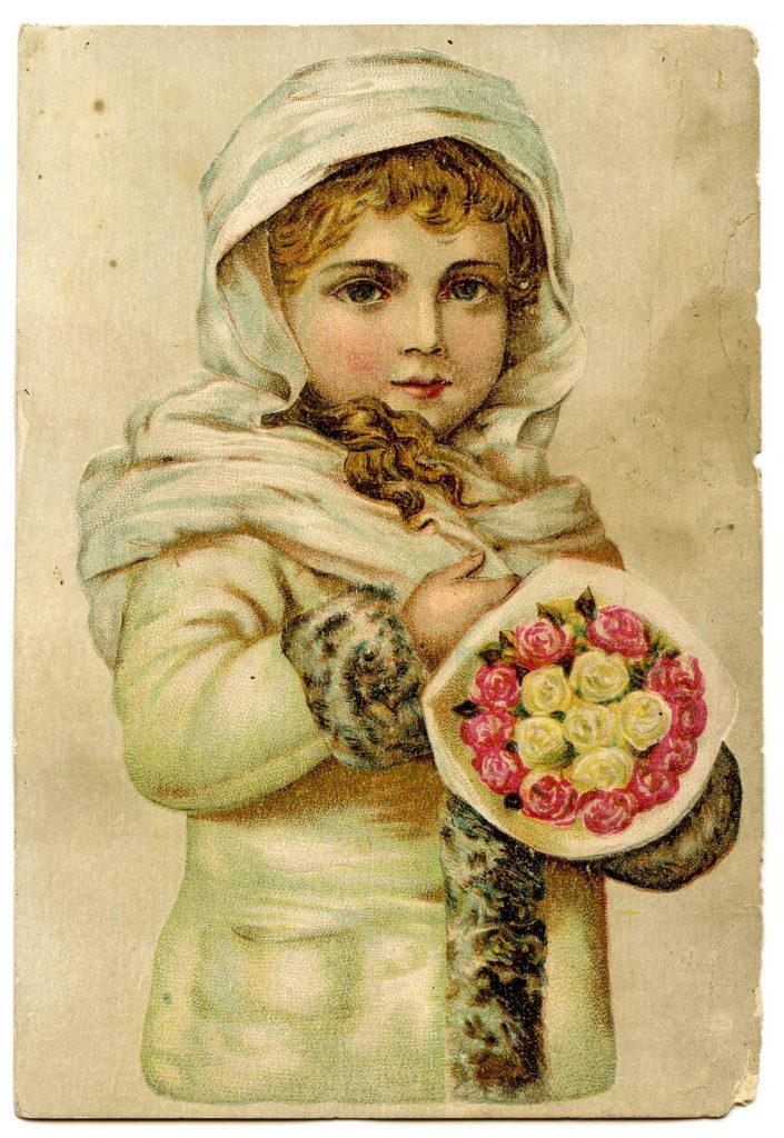 Vintage Girl Snow Flowers Image
