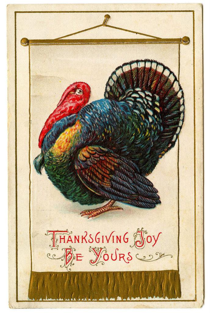 Thanksgiving Turkey Banner Vintage Clipart