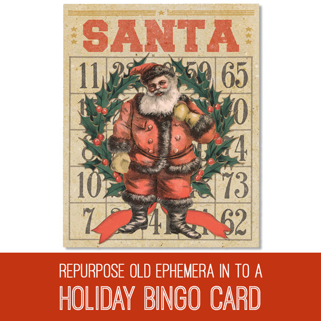 PSE Tutorial Repurposing old ephemera in to a Holiday Bingo Card