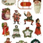 vintage Victorian Christmas scraps digital image bundle