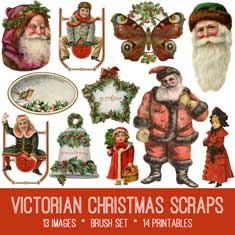 vintage Victorian Christmas scraps ephemera bundle