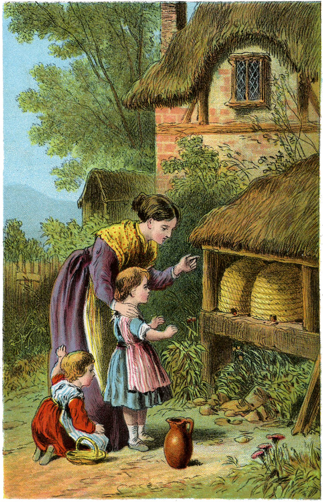 antique beehive mother daughter illustration