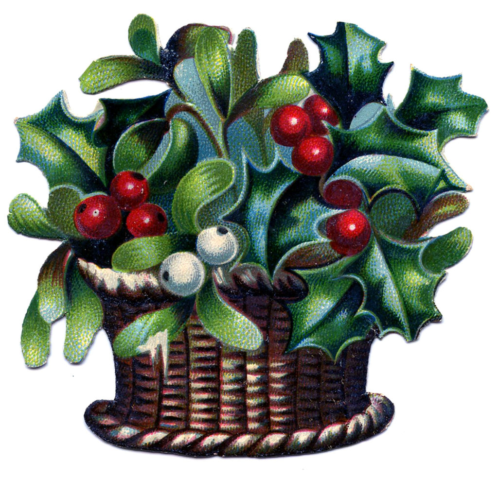 Christmas Basket Holly Arrangement Image