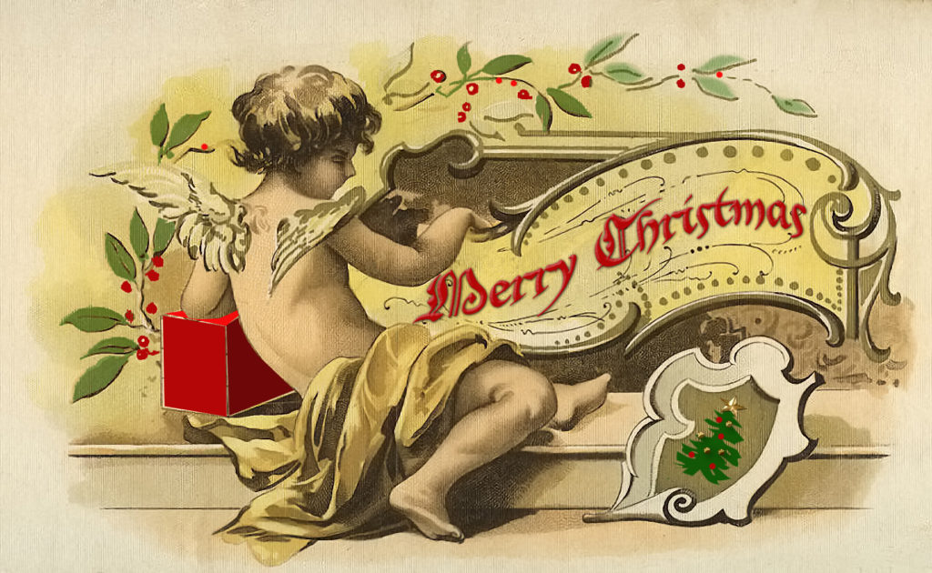 Christmas cherub antique image