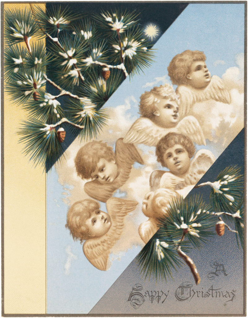 Christmas cherubs vintage illustration