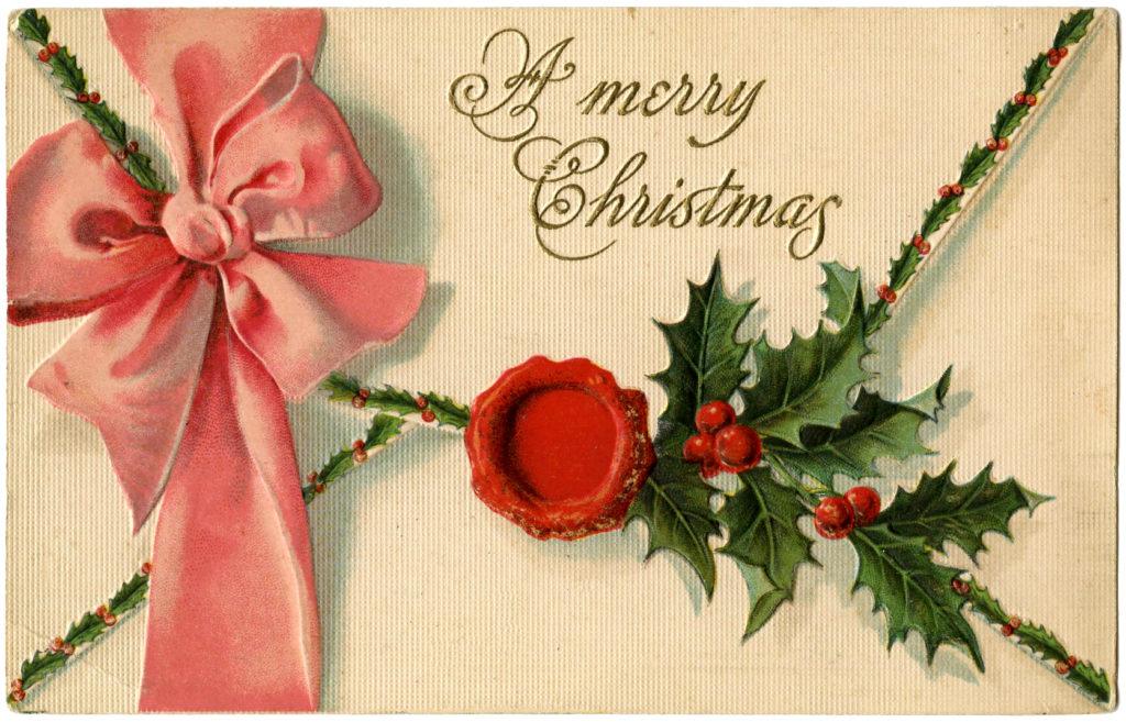 Christmas Letter Envelope Vintage Image