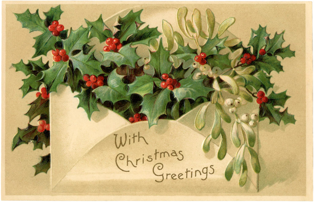 christmas holly envelope illustration