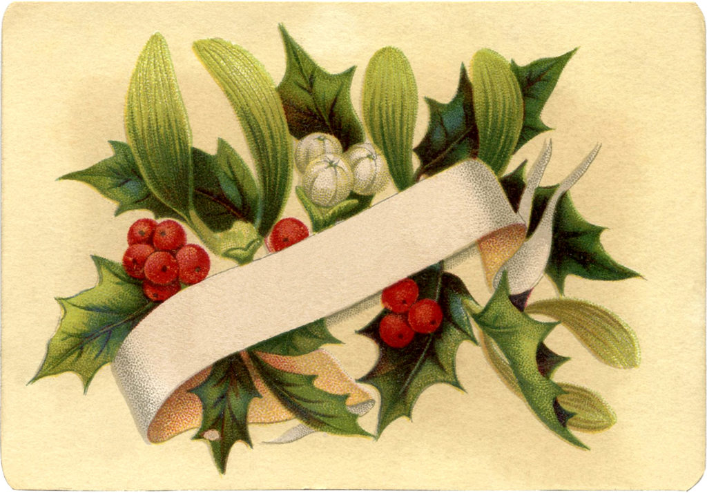 christmas holly label clipart