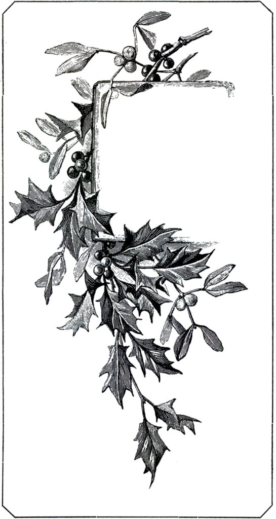 christmas holly black white tag image