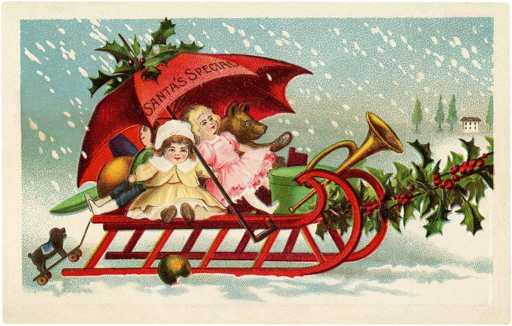 santas sleigh sled christmas vintage image