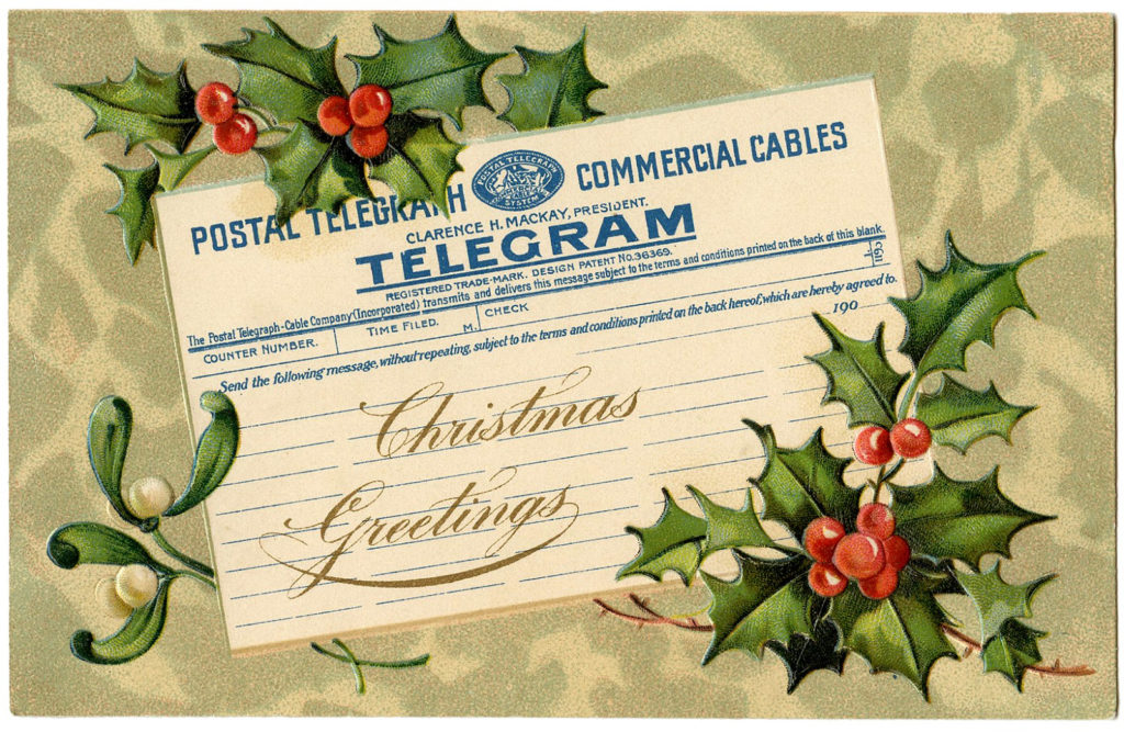 Christmas Telegram Holly Clipart