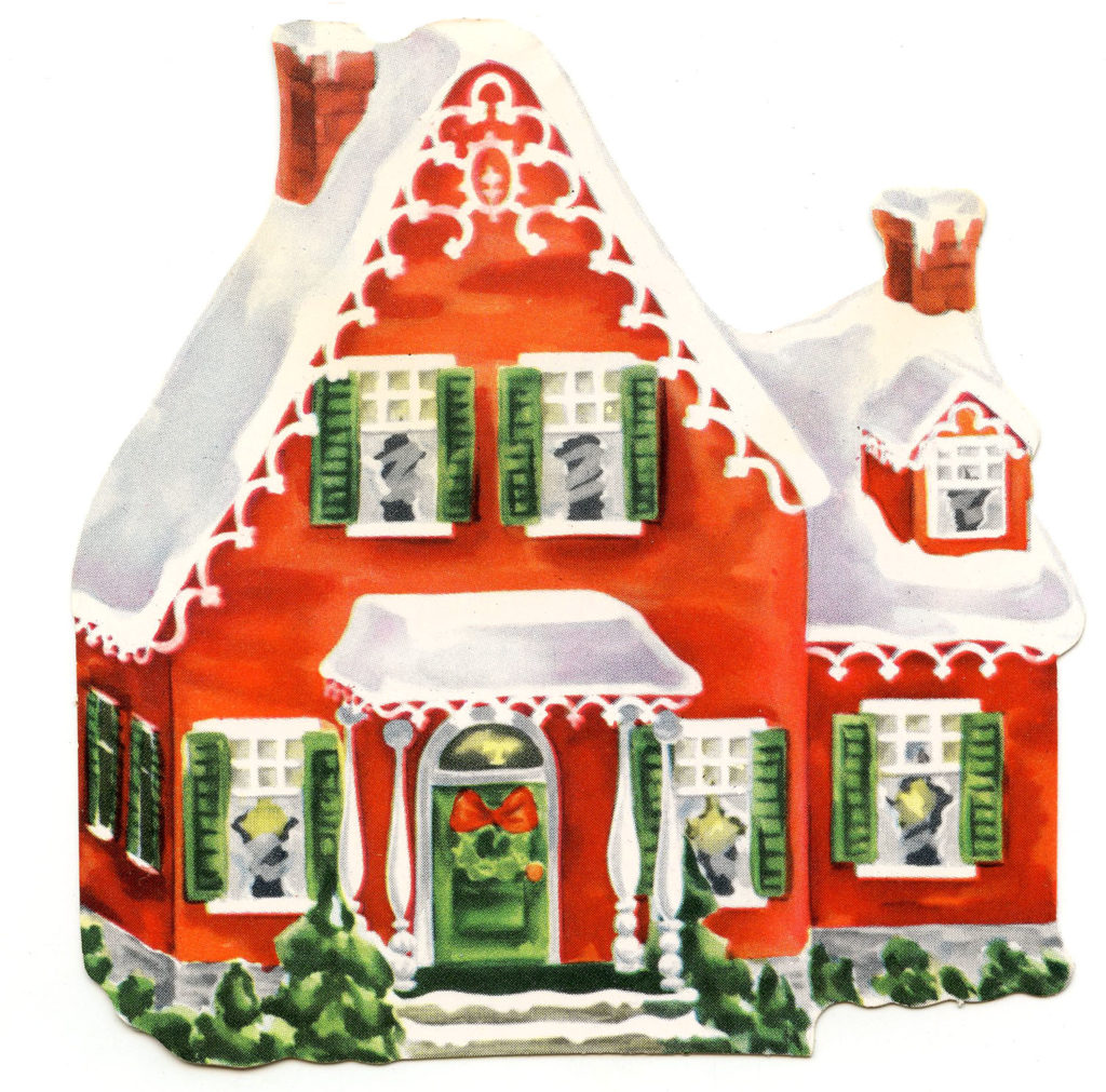 Vintage Christmas House Illustration