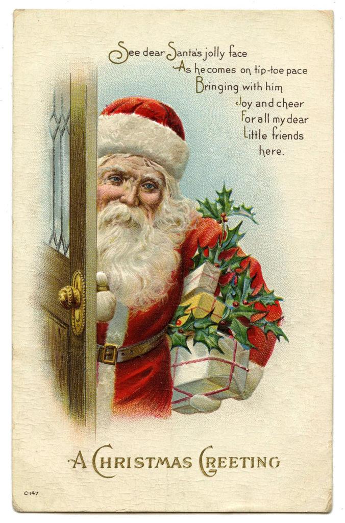 christmas santa door tree presents image
