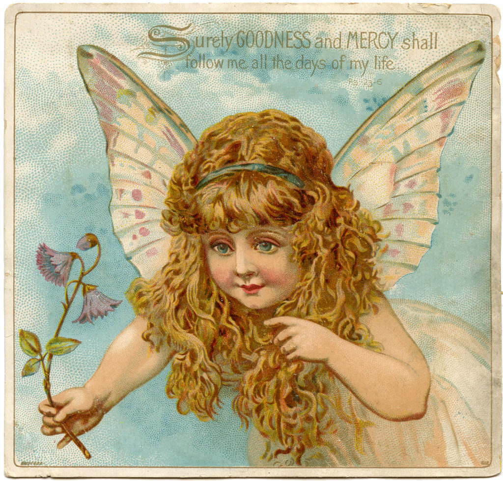 fairy wings flying vintage illustration