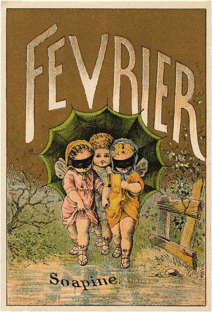 Vintage French Fairy February Fevrier Illustration